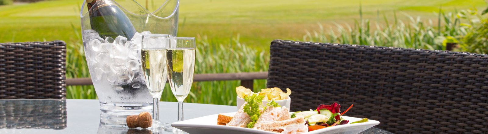 Aldwickbury Golf Club champagne on terrace
