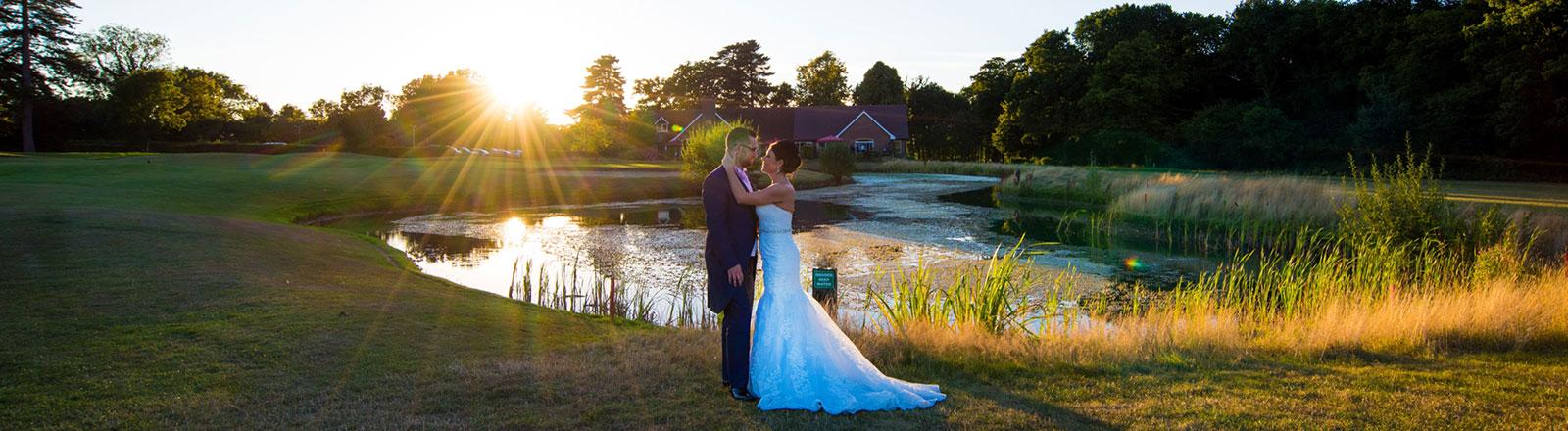 Aldwickbury Park Wedding outdoor shot at sunset